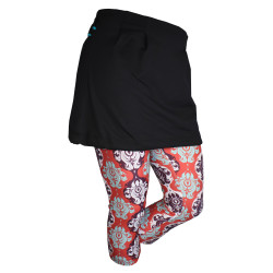 Black/Berry Damask 3 Capri